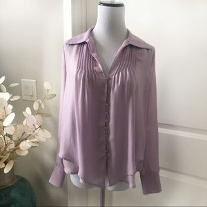 Bebe lavender pintucked button down blouse